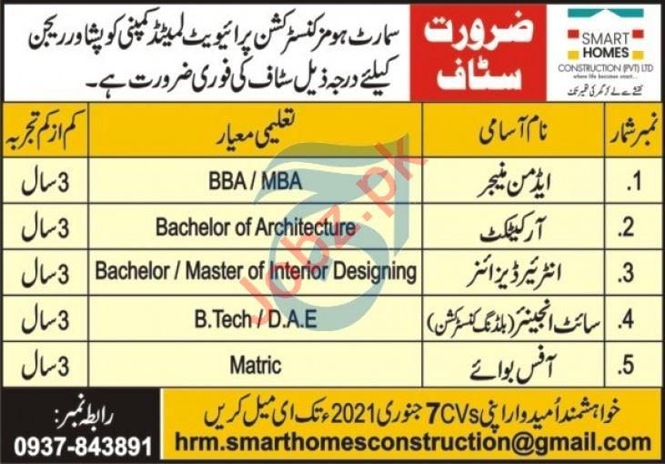 Smart Homes Construction Peshawar Jobs 2021 for Architect