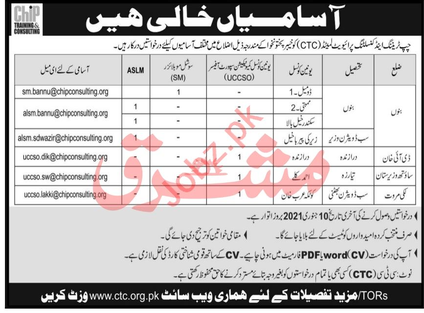 CHIP Training & Consulting CTC KPK Jobs 2021 UCCSO Officer