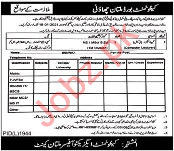 Cantt Public High School & College Multan Cantt Jobs 2021