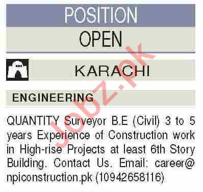 Civil Engineer & Quantity Surveyor Jobs 2021 in Karachi