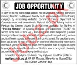 Pakistan Red Crescent Society PRCS Sindh Jobs 2021