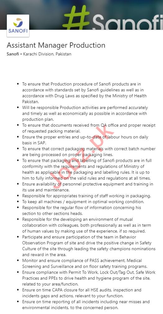Sanofi Pharmaceutical Jobs 2021 Assistant Manager Production