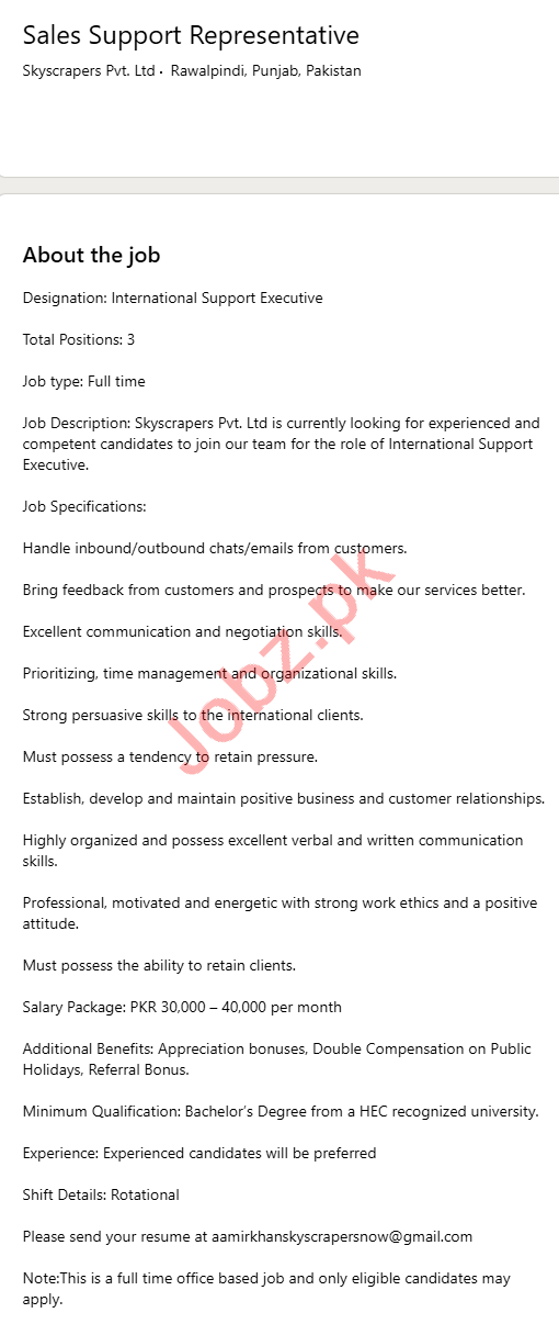 Skyscrapers Rawalpindi Jobs for Sales Support Representative