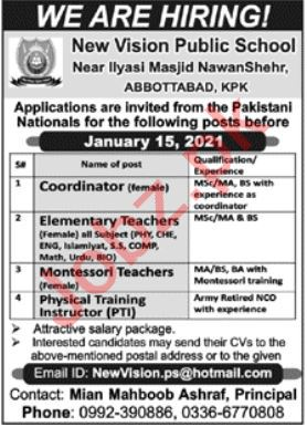 New Vision Public School Abbottabad Jobs 2021 for Teachers