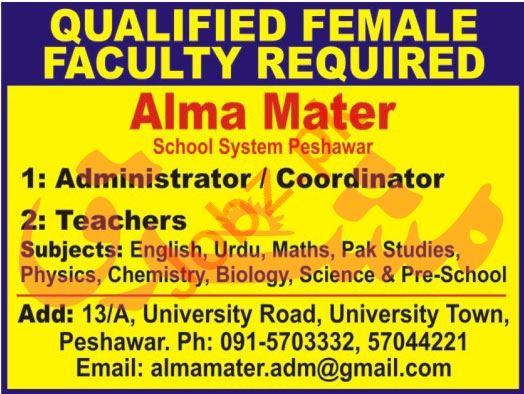 Teachers Jobs 2021 in Alma Mater School System Peshawar