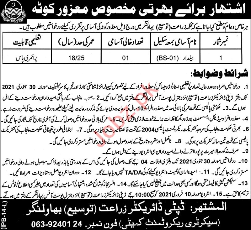 Agriculture Extension Department Bahawalnagar Jobs 2021