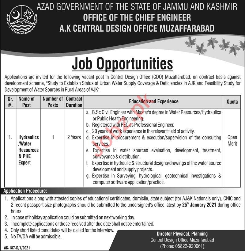 AJK Central Design Office CDO Muzaffarabad Jobs 2021