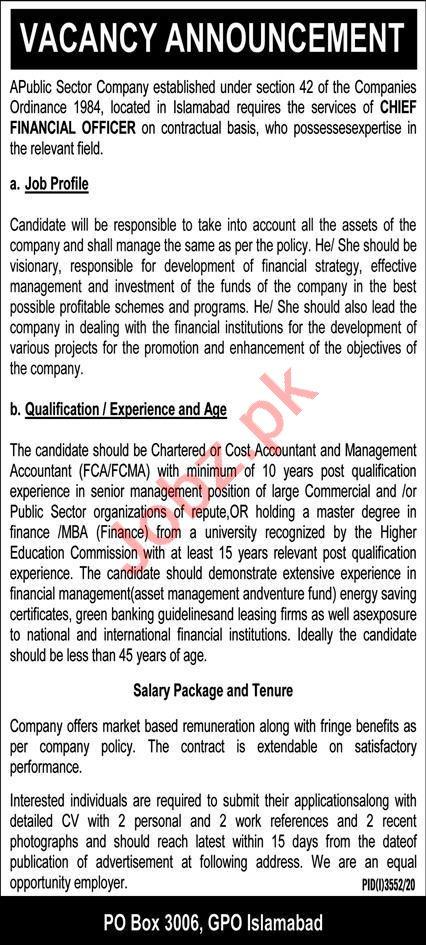 Public Sector Company Islamabad Jobs 2021 for CFO