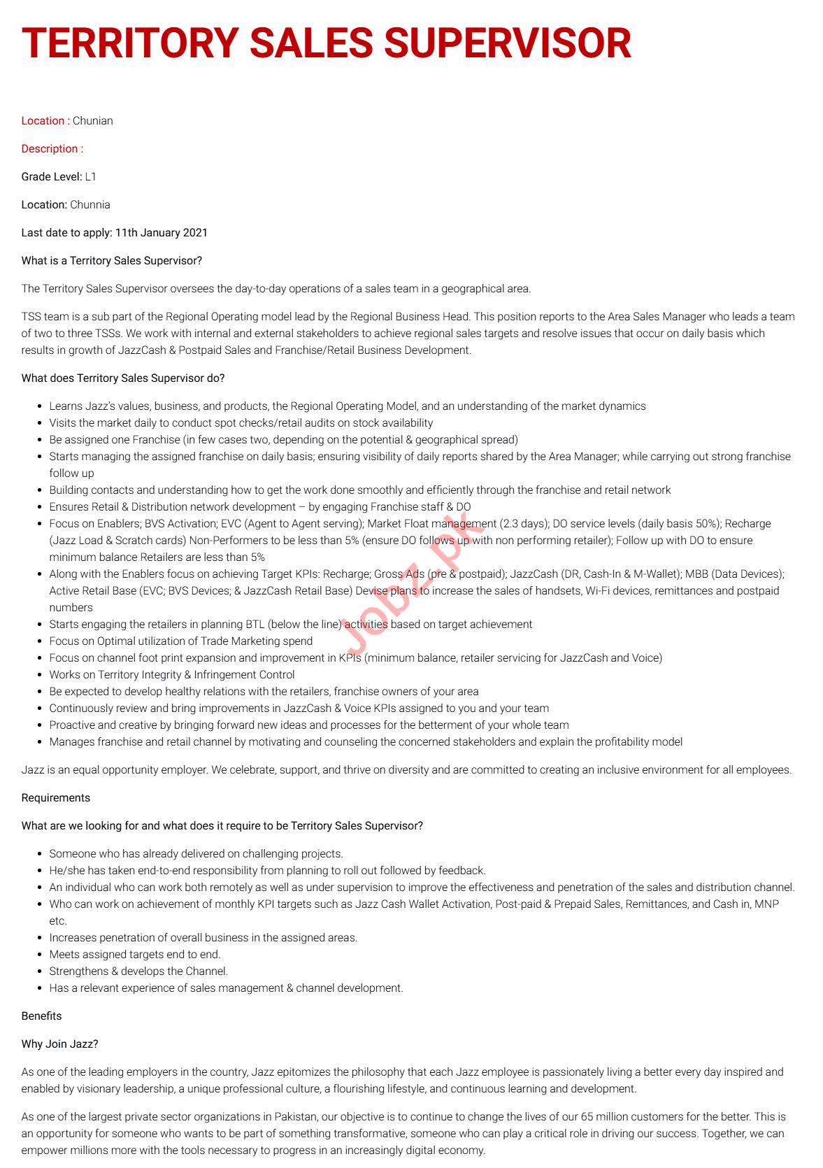 Territory Sales Supervisor & Sales Supervisor Jobs 2021