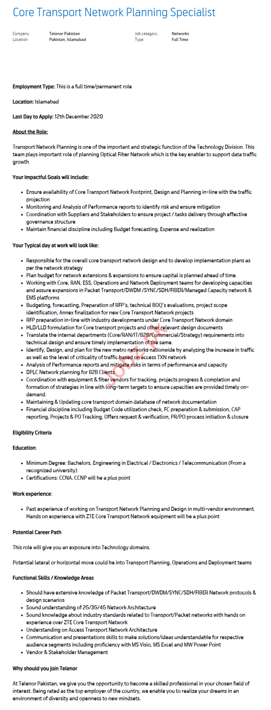 Core Transport Network Planning Specialist Jobs 2021