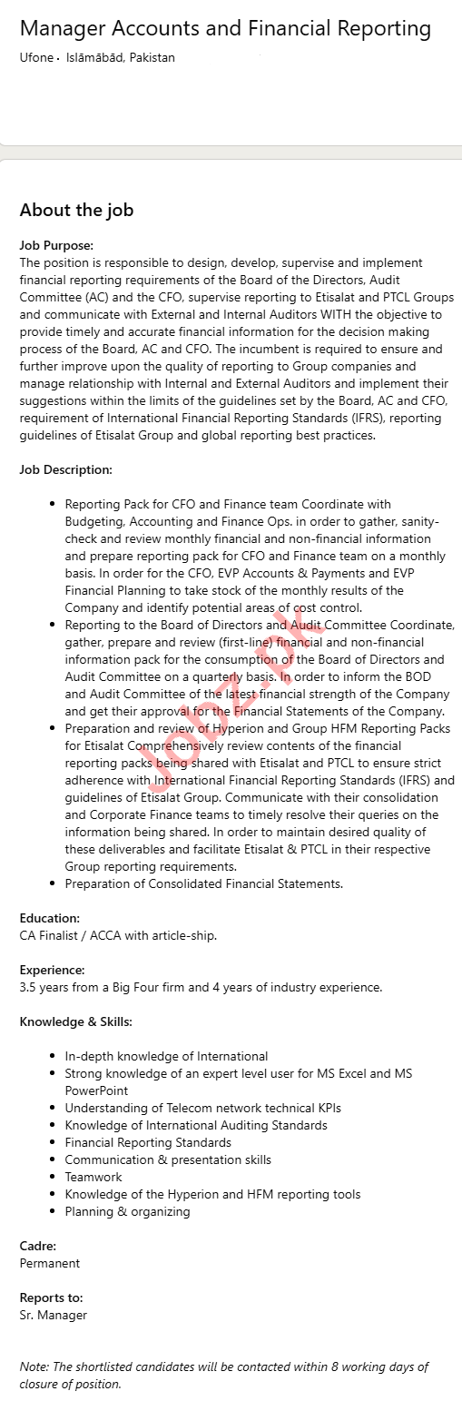 Manager Accounts & Financial Reporting Jobs 2021
