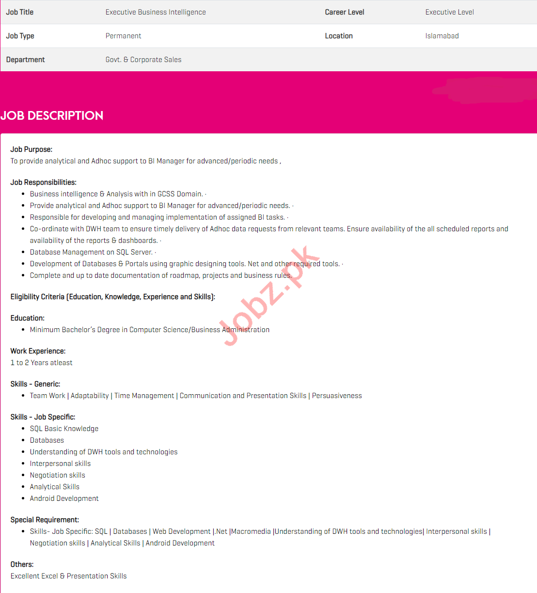 Executive Business Intelligence Jobs 2021 in Zong Pakistan