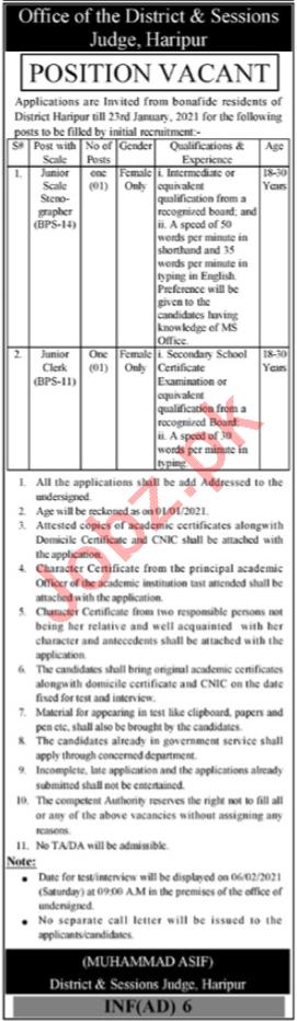 Clerk & Stenographer Jobs District & Session Court Haripur