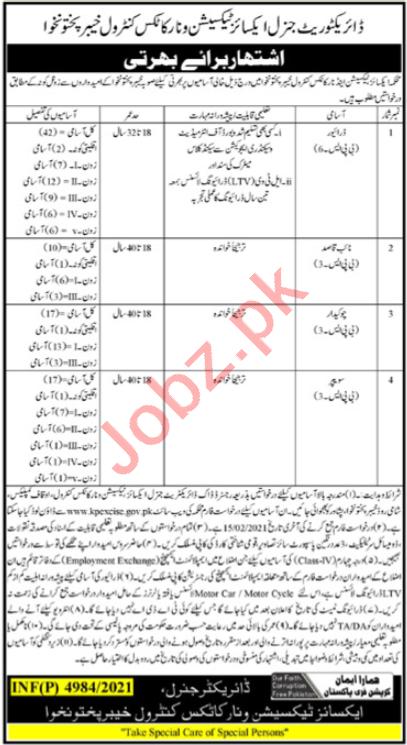 Excise Taxation & Narcotics Control Peshawar Jobs 2021