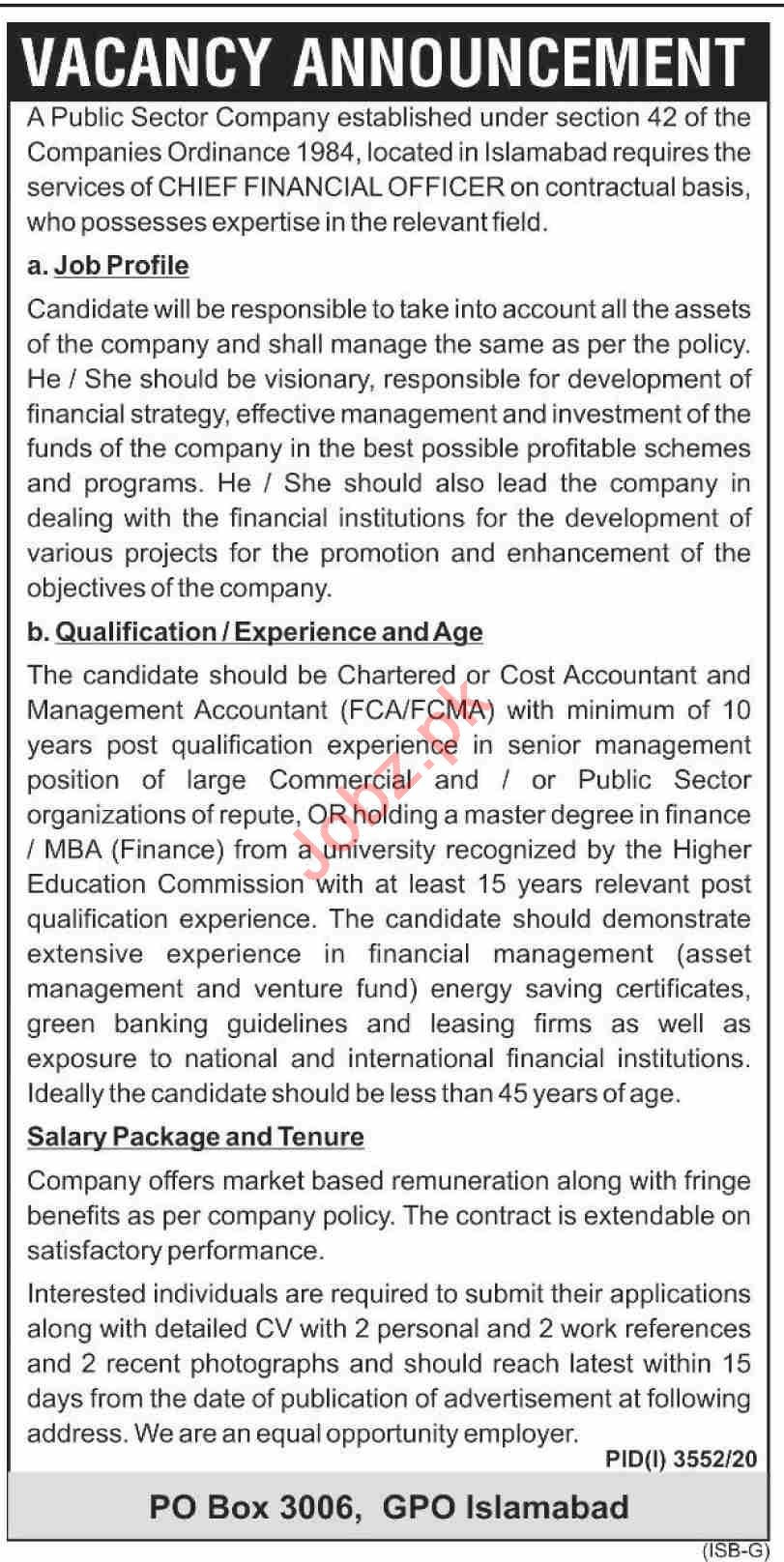 Public Sector Company Jobs 2021 for Chief Financial Officer
