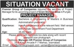 Premier Group of Companies Islamabad Jobs 2021 for Manager