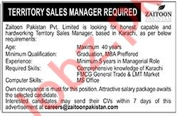 Zaitoon Pakistan Jobs 2021 for Territory Sales Manager