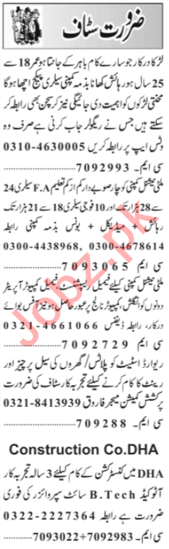 AutoCAD Operator & Sales Manager Jobs 2021 in Lahore