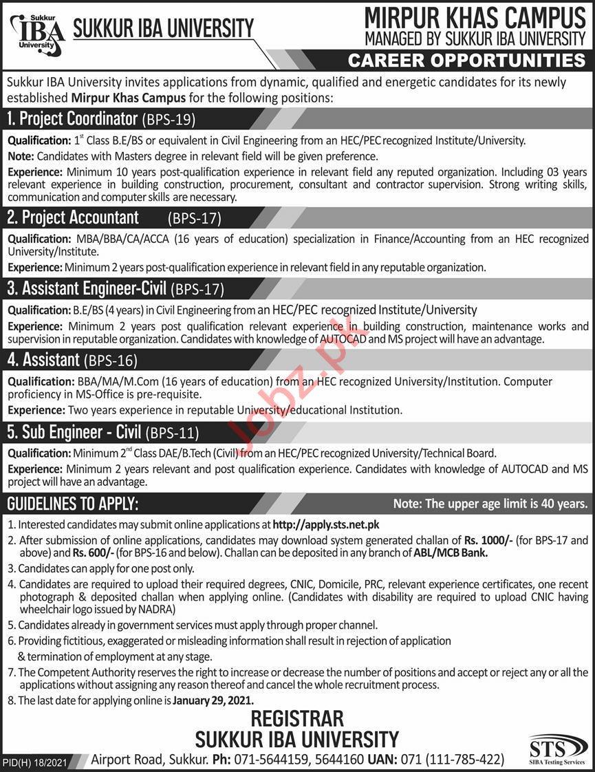 Sukkur IBA University Jobs 2021 for Coordinator & Accountant