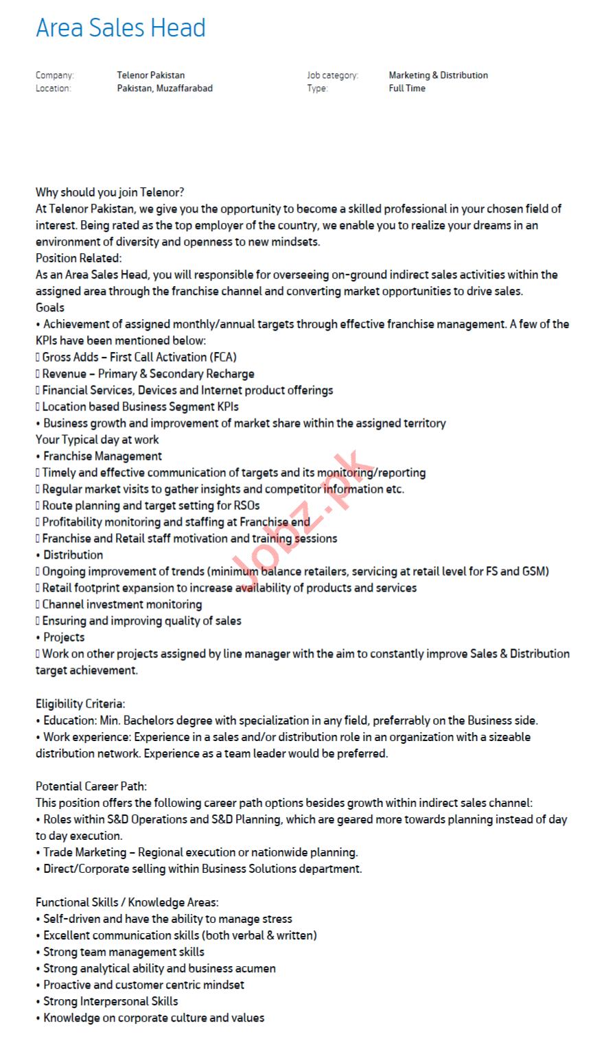 Area Sales Head Jobs 2021 in Telenor Muzaffarabad