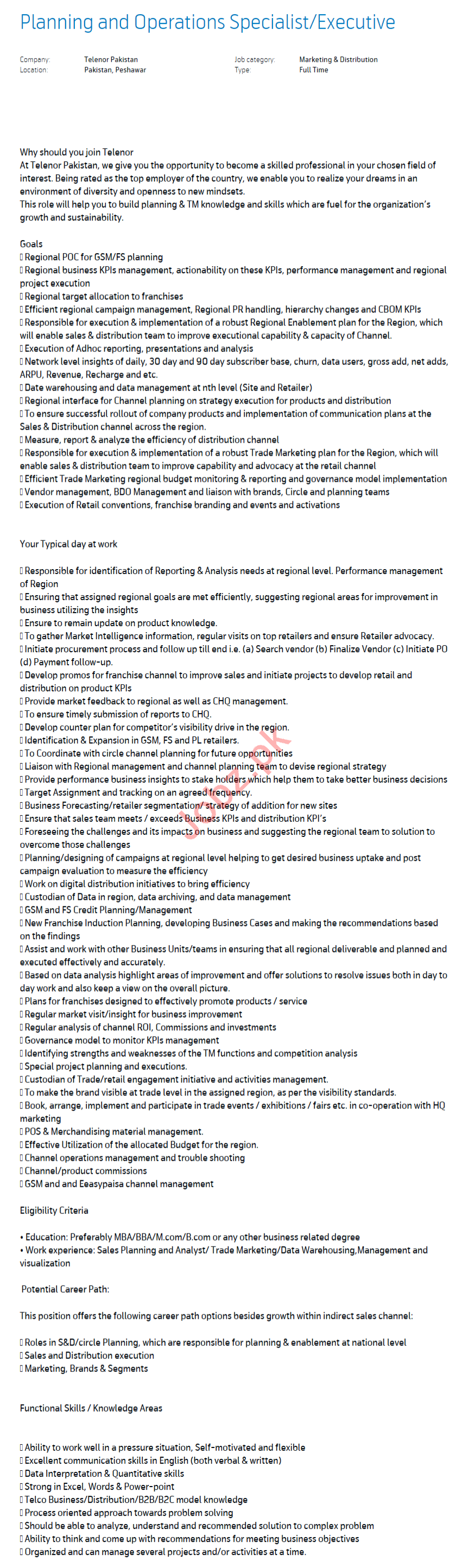 Planning & Operations Specialist Jobs 2021 in Peshawar