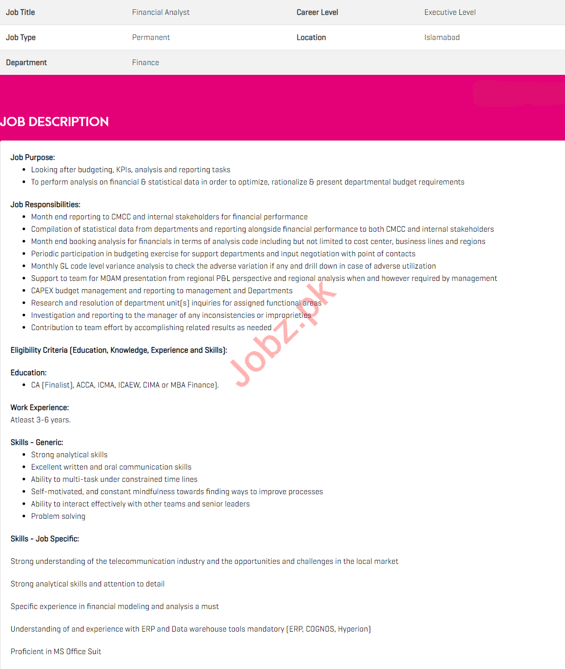 Financial Analyst Jobs 2021 in Zong Pakistan