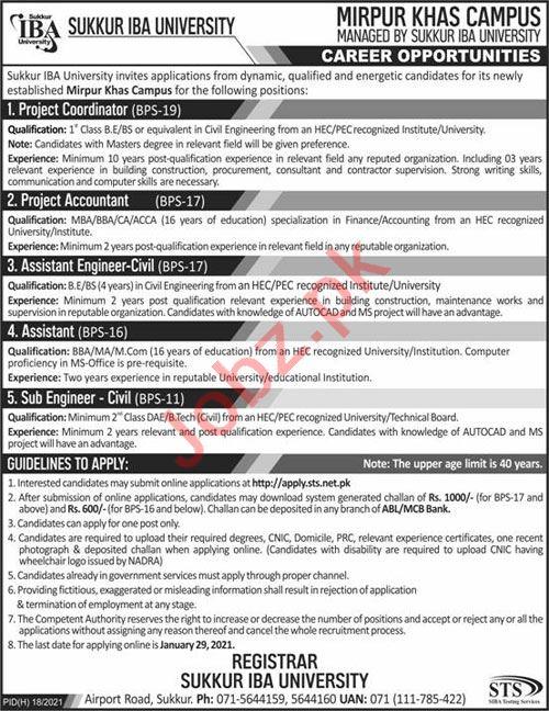 Engineer & Accountant Jobs 2021 in Sukkur IBA University