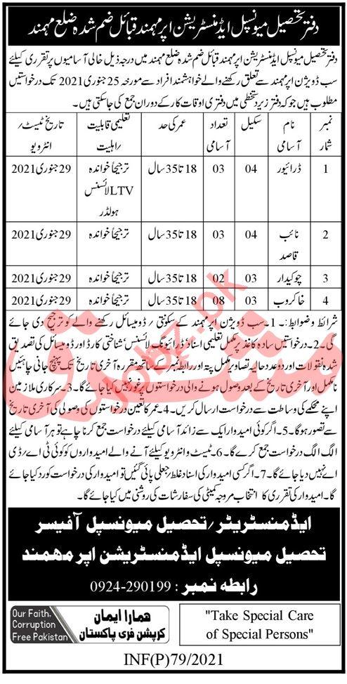 Tehsil Municipal Administration TMA Mohmand Jobs 2021