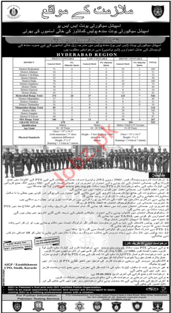 Special Security Unit SSU Hyderabad Region Police Jobs 2021