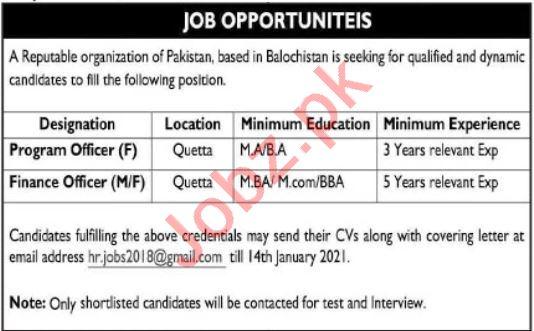 Program Officer & Finance Officer Jobs 2021 in Quetta