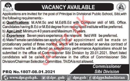 Divisional Public School DPS Sibi Jobs 2021 for Principal