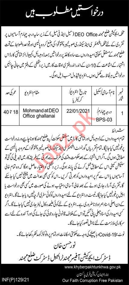 District Education Office DHO Mohmand Jobs 2021