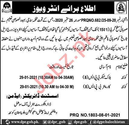 Directorate of Social Welfare Special Education Quetta Jobs