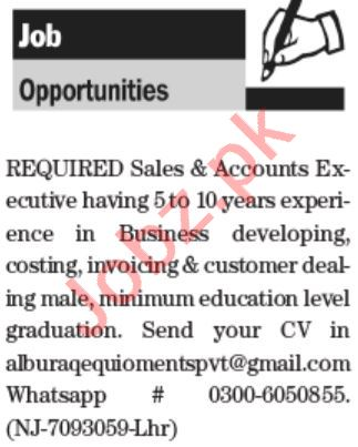 Sales & Account Executive Jobs 2021 in Al Buraq Equipment