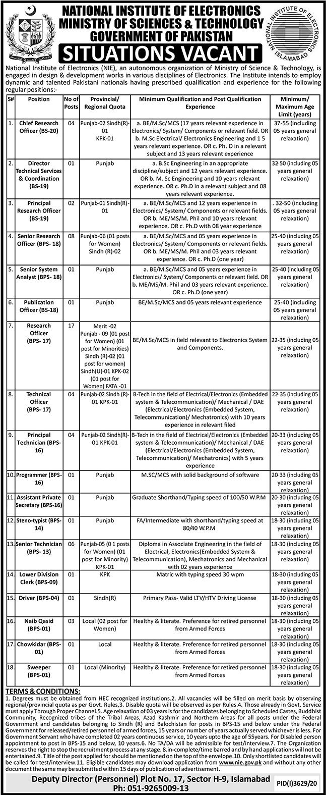National Institute of Electronics Jobs 2021 in Islamabad
