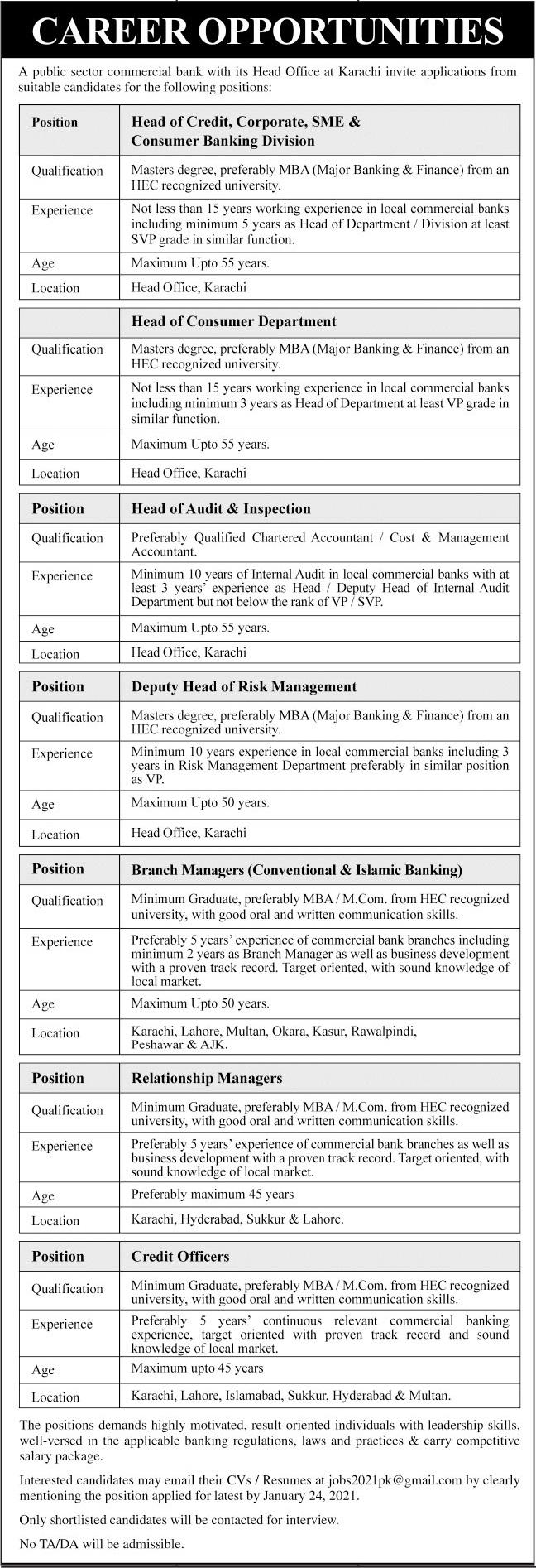 Public Sector Commercial Bank Jobs 2021