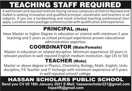 Hassan Scholars Public School Jobs 2021 For Teaching Staff