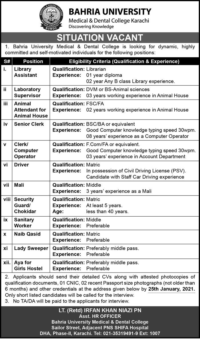 Bahria University Medical & Dental College Jobs 2021