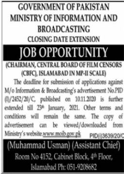 Ministry of Information and Broadcasting Jobs 2021