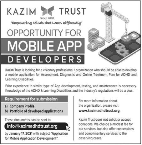 Kazim Trust NGO Jobs 2021 For Mobile App Developers