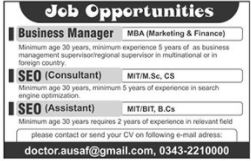 Business Manager & SEO Experts Jobs 2021