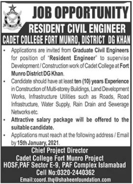 Resident Civil Engineer Job 2021 in Dera Ghazi DG Khan