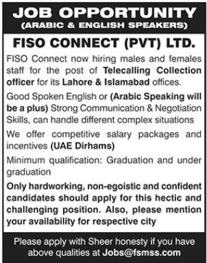 Arabic & English Speakers Jobs 2021 in Lahore & Islamabad