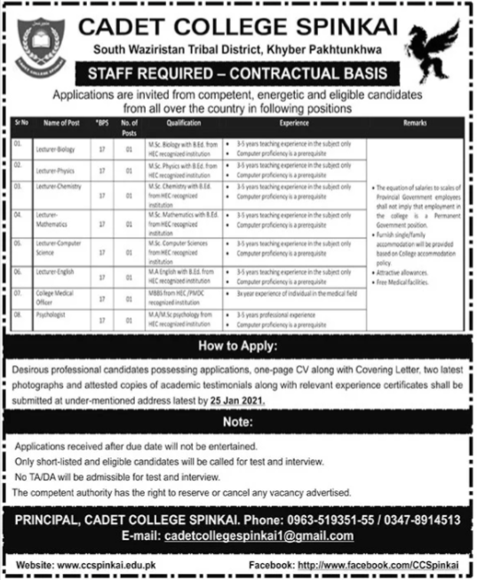 Pakistan Army Cadet College Spinkai KPK Jobs 2021
