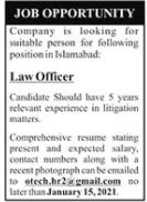 Law Officer Job 2021 in Islamabad
