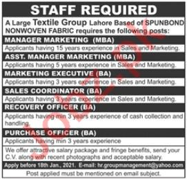 Manager Marketing & Assistant Marketing Manager Jobs 2021