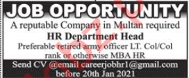 HR Department Head Jobs 2021 in Multan