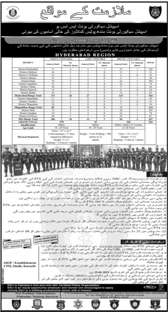 Sindh Police Department Jobs 2021 in Hyderabad Range via PTS