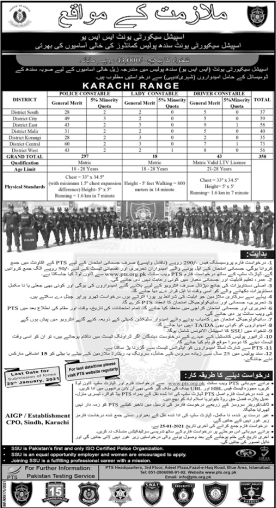 Sindh Police Department Jobs 2021 in Karachi Range via PTS
