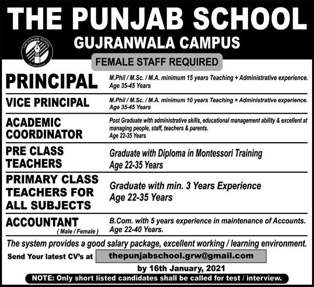 The Punjab School Gujranwala Campus Jobs 2021
